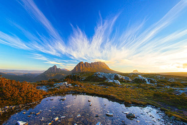 the magic cradle mountain - tasmania stock pictures, royalty-free photos & images