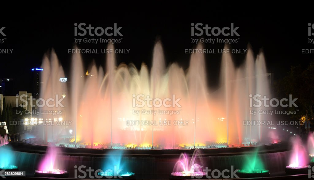 The Magic Fountain of Barcelona at night stock photo
