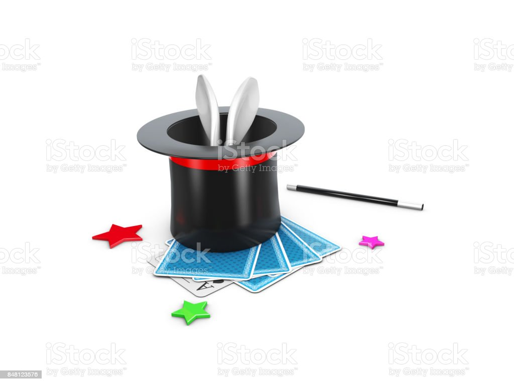 The Magic Hat With Shine, rabbit and stars. 3d Illustration stock photo