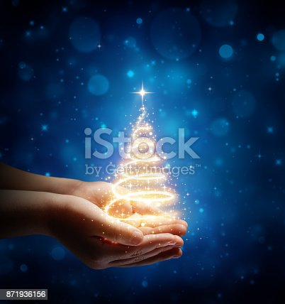 istock The Magic Of Christmas In Child Hands 871936156