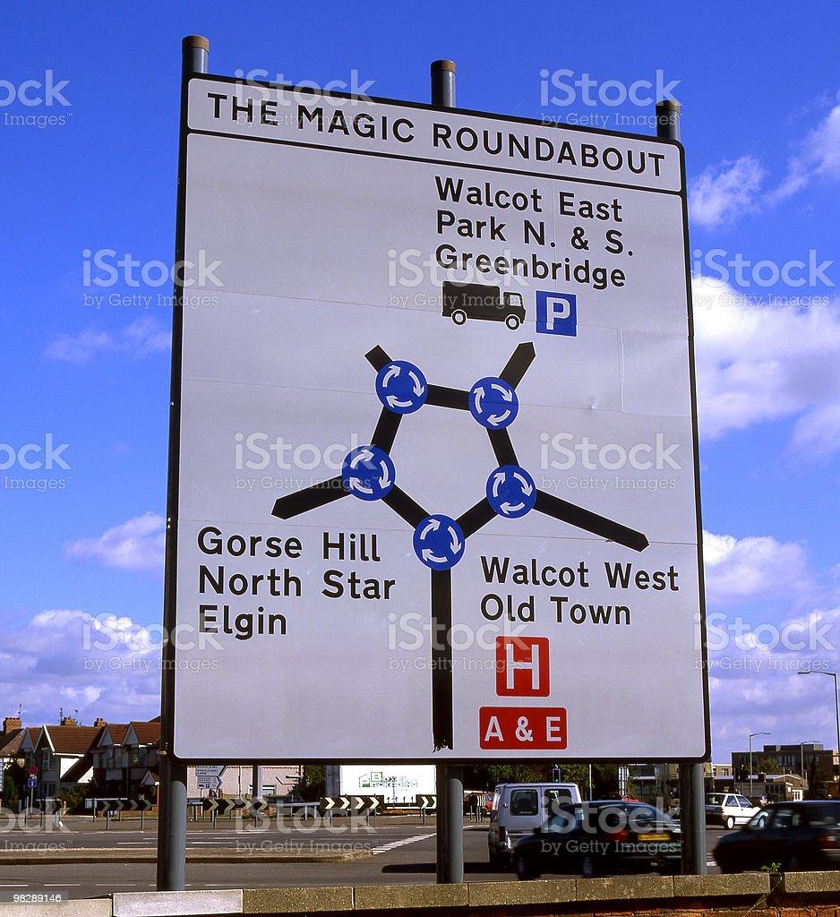 The Magic Roundabout roadsign. Swindon. England royalty-free stock photo