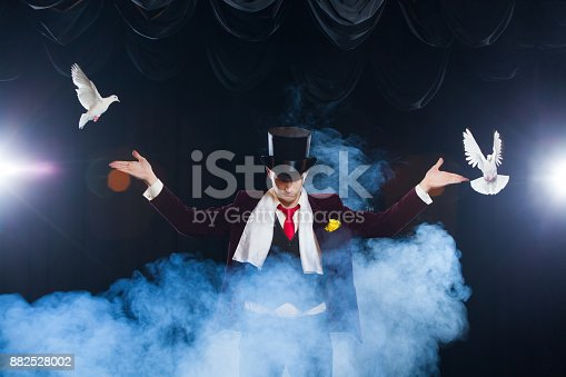 istock The magician with a two flying white Doves. on a black background shrouded in a beautiful mysterious smoke 882528002