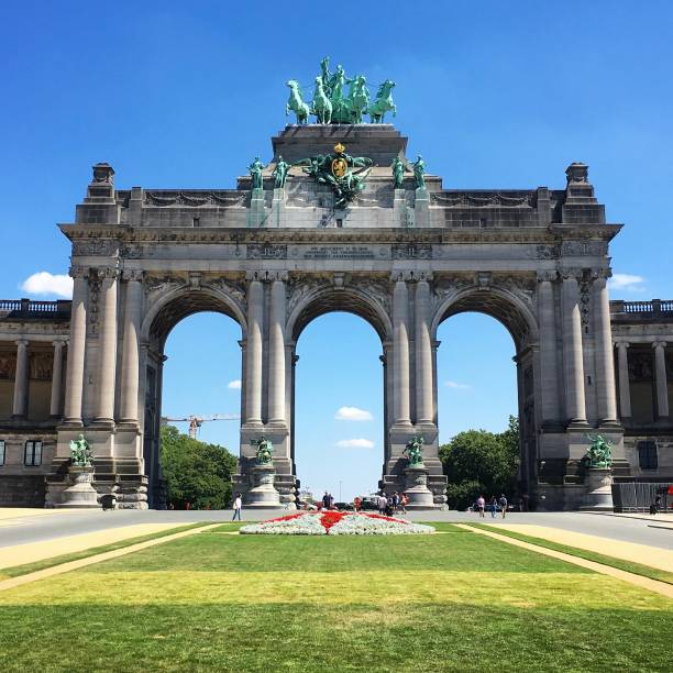 The magnificent Cinquantenaire Arch in Brussels. stock photo