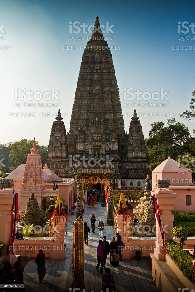 The Mahabodhi Temple of Bodh Gaya,India at Puja festival stock photo