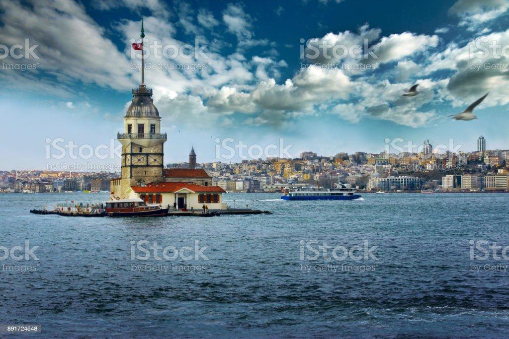 The Maiden's Tower (Kiz Kulesi) stock photo