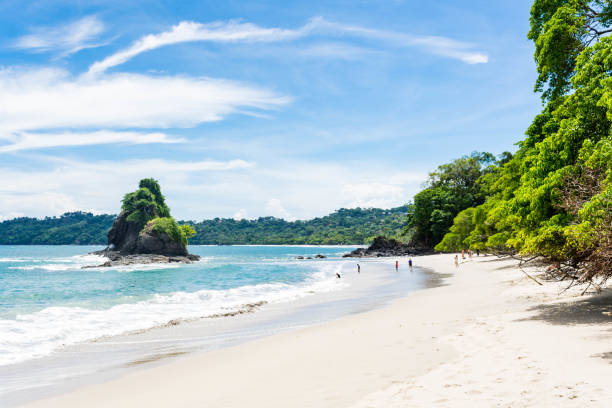 The main beach of Manuel Antonio Beautiful white sandy beach in Costa Rica. central america stock pictures, royalty-free photos & images