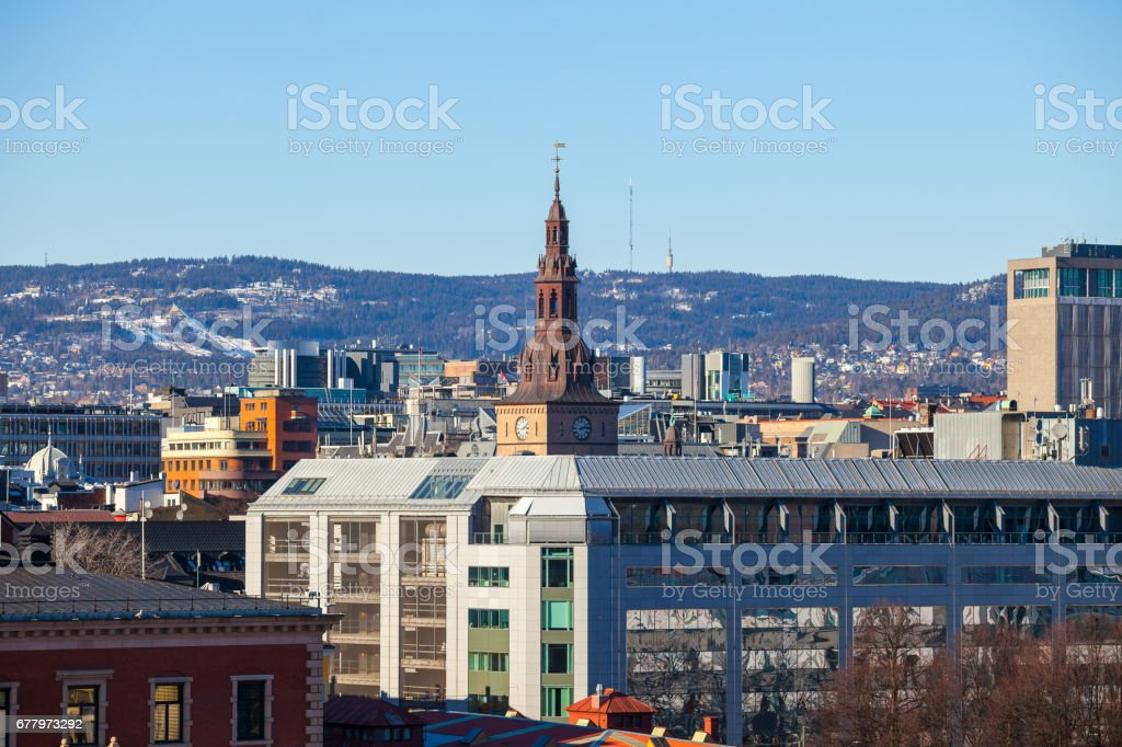 The main cathedral in Oslo, Norway. Aerial view. royalty-free stock photo