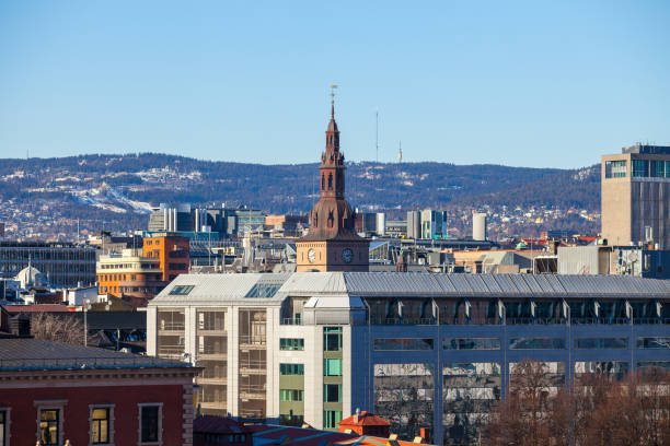 The main cathedral in Oslo, Norway. Aerial view. stock photo