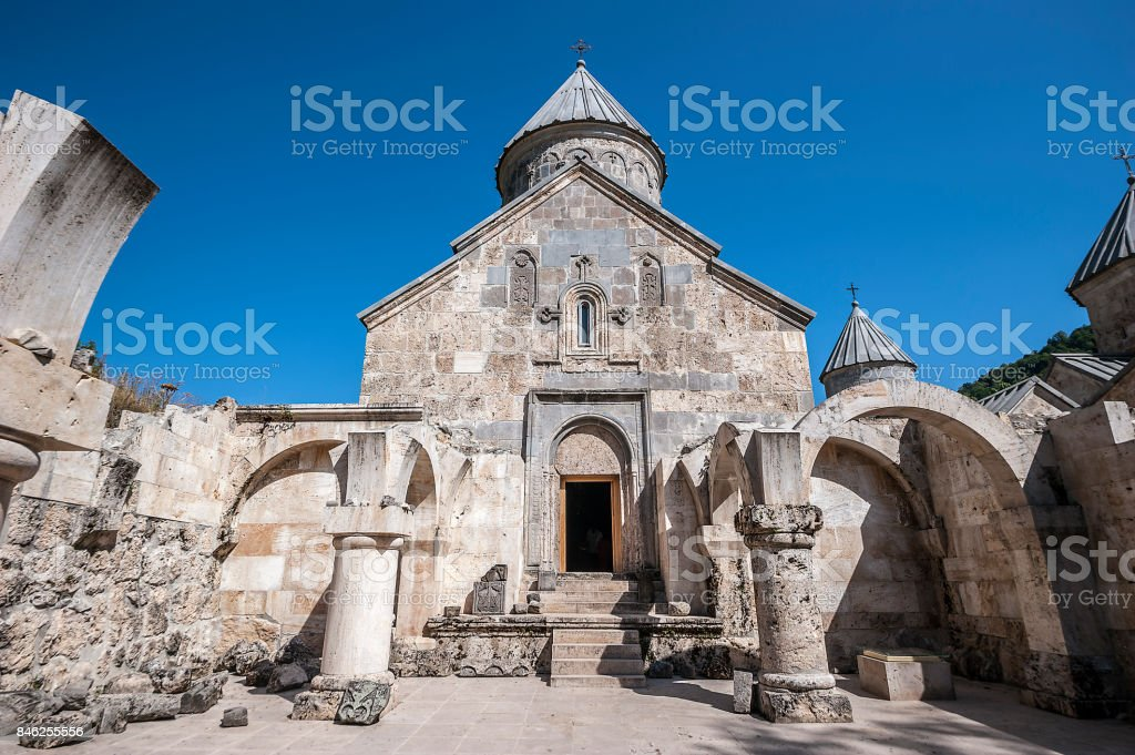 The main church of the Haghartsin monastery is St. Astvatsatsin stock photo
