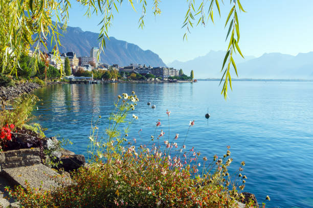The main embankment of the Lake Geneva, the famous town of Montreux, Switzerland stock photo