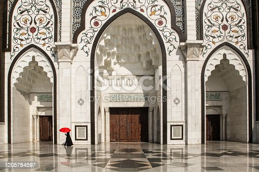 The main entrance of Federal Territory Mosque , Kuala Lumpur.