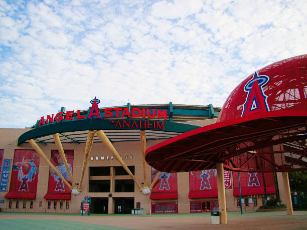The main entrance of Angel Stadium stock photo