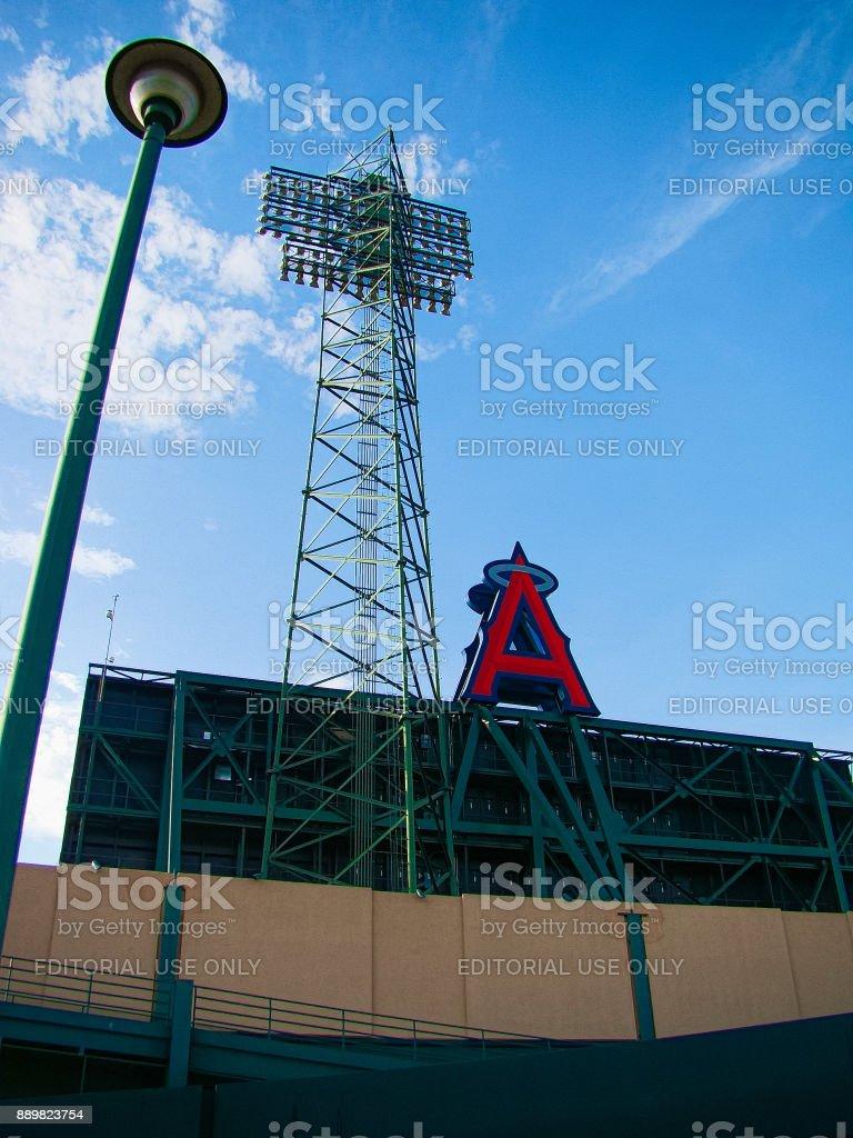 The main entrance of Angel Stadium stock photo