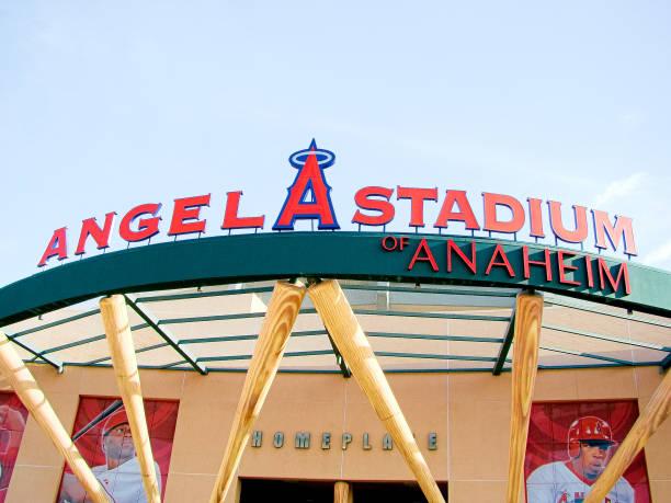 The main entrance of Angel Stadium Anaheim,CA/Los Angeles. Oct 29 2016, The main entrance of Angel Stadium, a major league baseball team in Anaheim,CA. major league baseball stock pictures, royalty-free photos & images