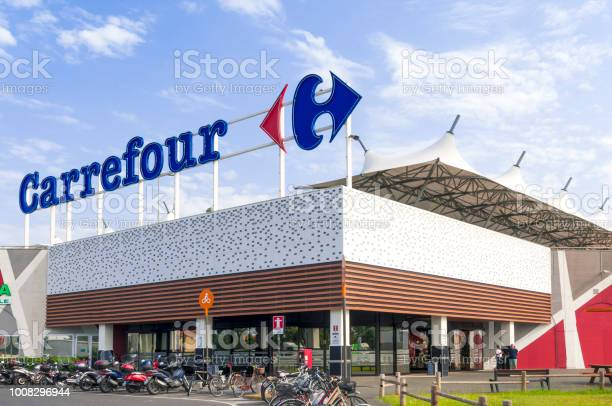 The Main Entrance To A Carrefour Mall In Italy Stock Photo - Download Image Now