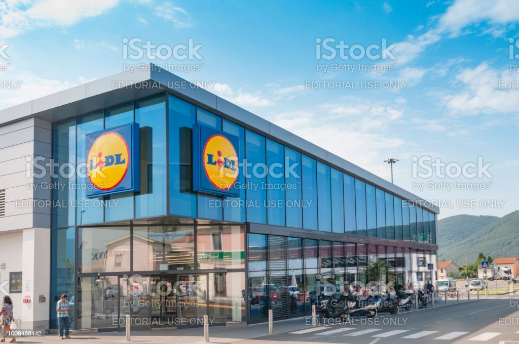 MASSA, ITALY - JULY 26, 2018 - The main entrance to a Lidl grocery...