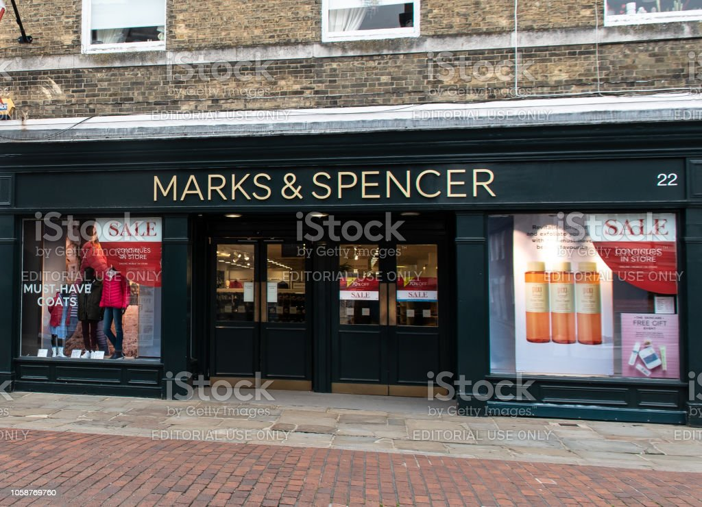 The main entrance to Marks and Spencers in North Street stock photo
