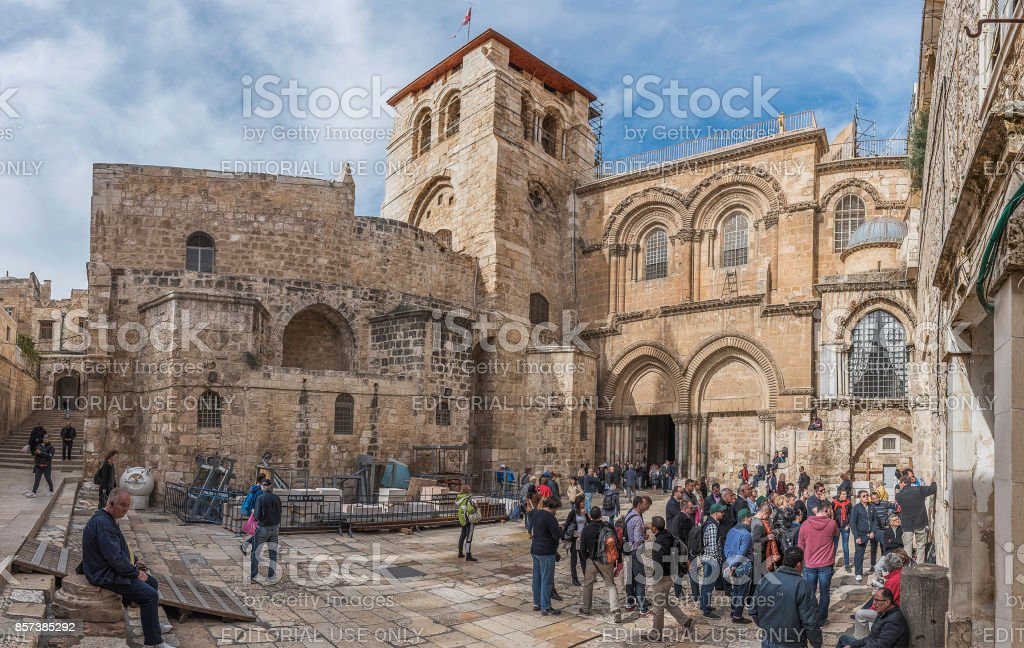 The main entrance to the Church of the Holy Sepulchre stock photo