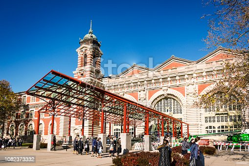 New York, USA, November 8th 2016: The main entrance to the Immigration Museum at Ellis Island in Upper New York Bay