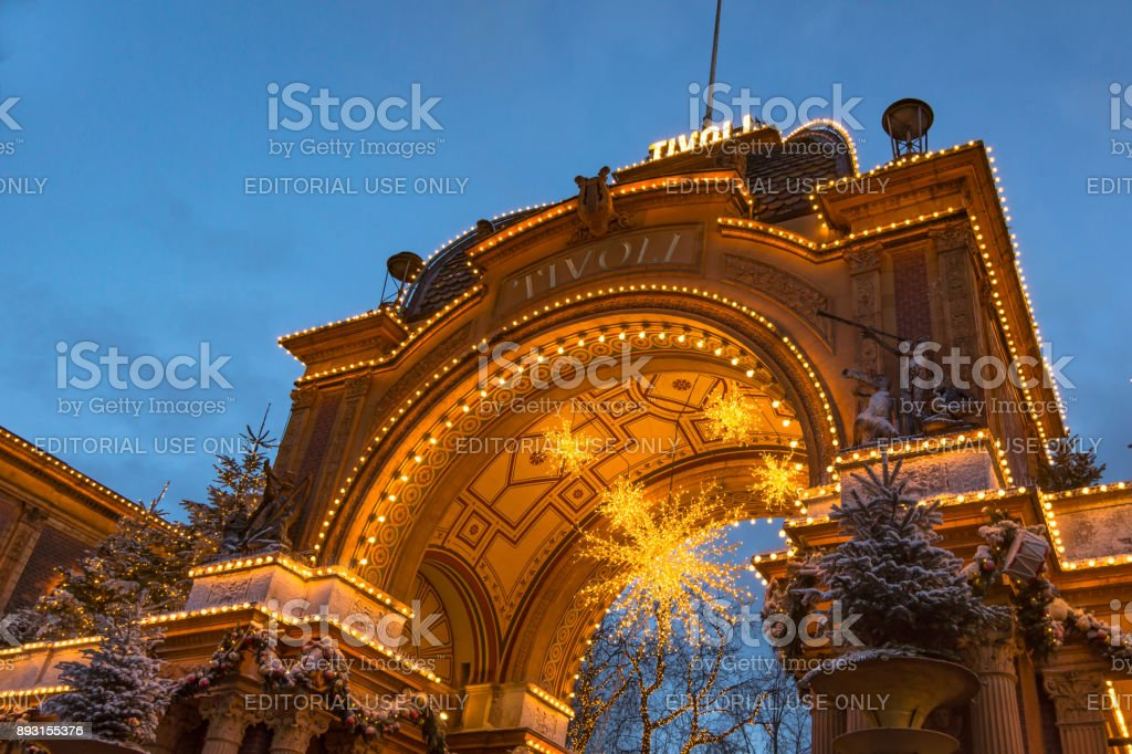 The main entrance to Tivoli gadens at night, Copenhagen stock photo