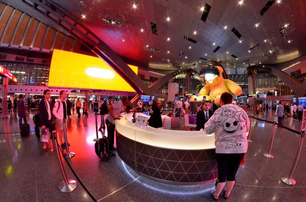 The main hall of Hamad International Airport in Doha stock photo