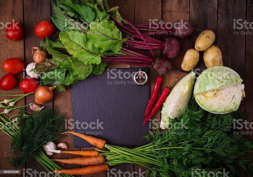 The main ingredients - vegetables for cooking borsch stock photo