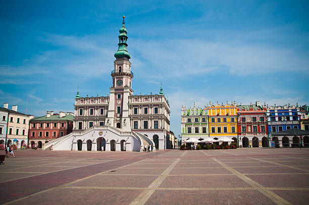 The main market square in Zamosc stock photo