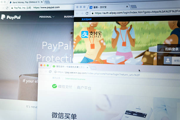 the main online online payment networks - paypal foto e immagini stock