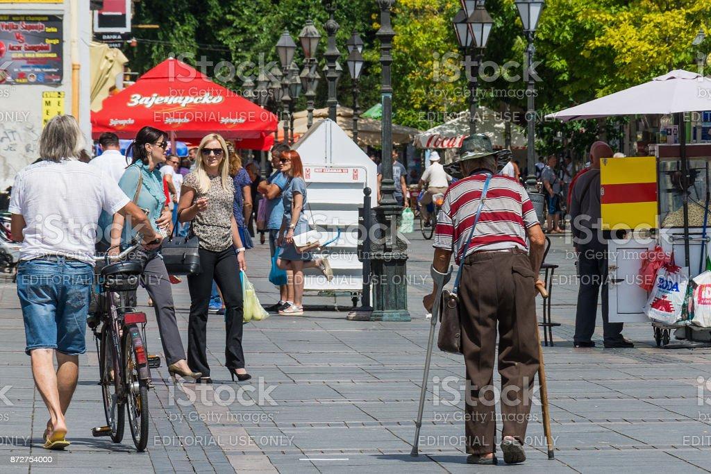 the main promenade in Sombor. stock photo
