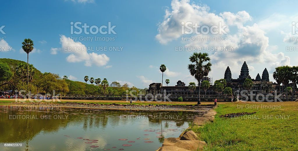 The main road to Angkor Wat, Cambodia stock photo