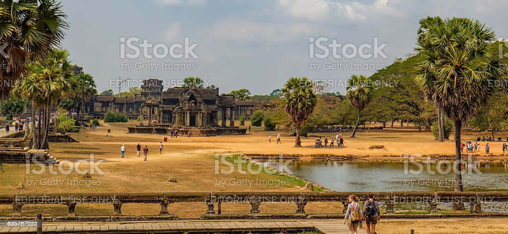 The main road to Angkor Wat which runs tours, Cambodia. stock photo