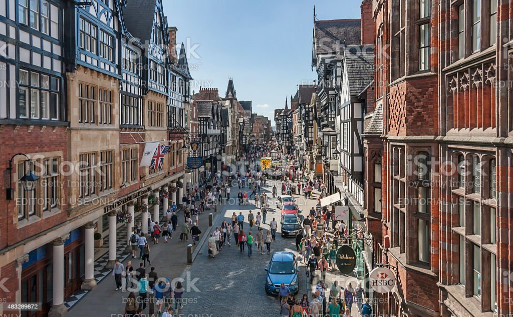 The main shopping street in the City of Chester UK. stock photo