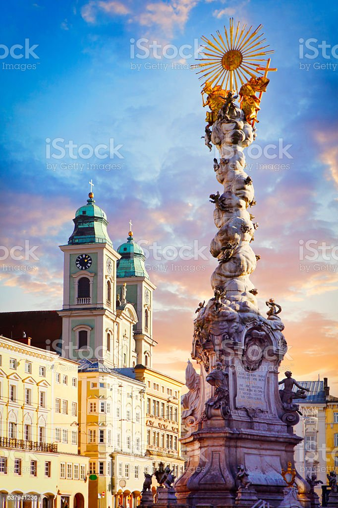 The main square in Linz stock photo