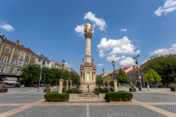 The Main square in Szombathely, Hungary stock photo