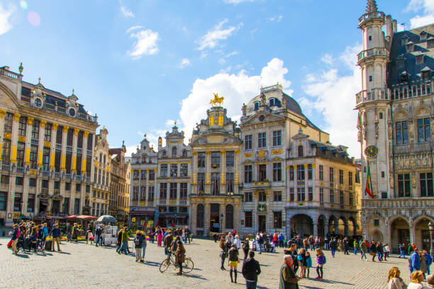 The main square of Brussels The main square of Brussels, Belgium, UNESCO World Heritage Site. Beautiful sunny day in Belgium. Grand Platz. brussels capital region stock pictures, royalty-free photos & images