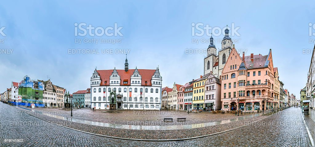 The Main Square of Luther City Wittenberg in Germany stock photo