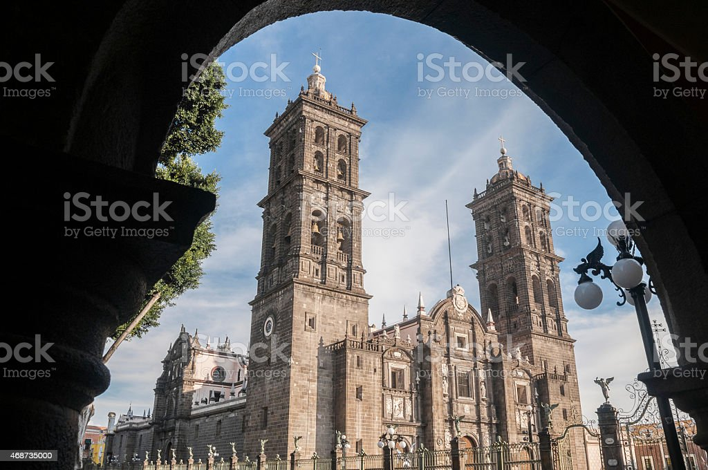 The Main Square (Zocalo) of Puebla, Mexico stock photo