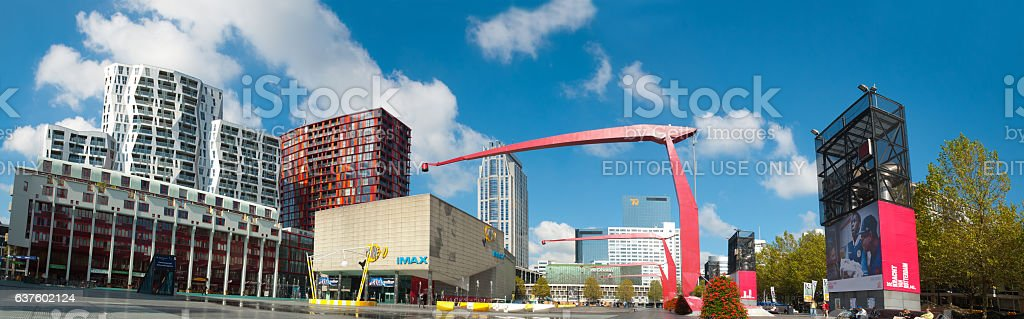 The main square of Rotterdam, the Netherlands stock photo