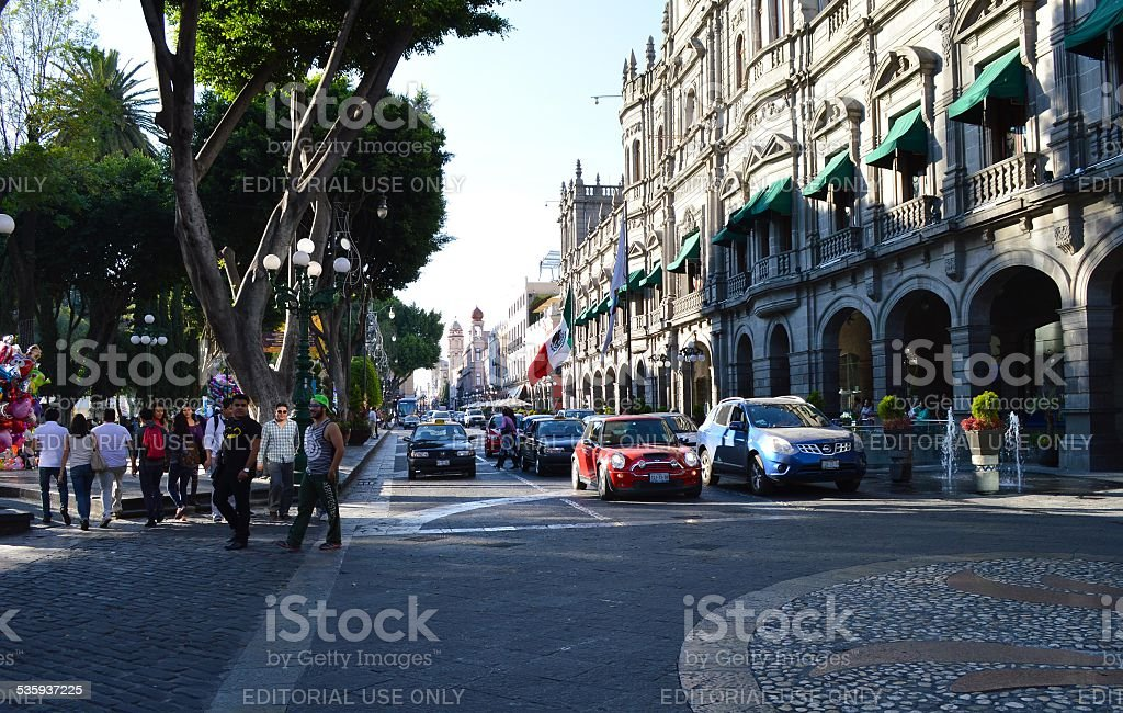 The main square of the city of Puebla stock photo