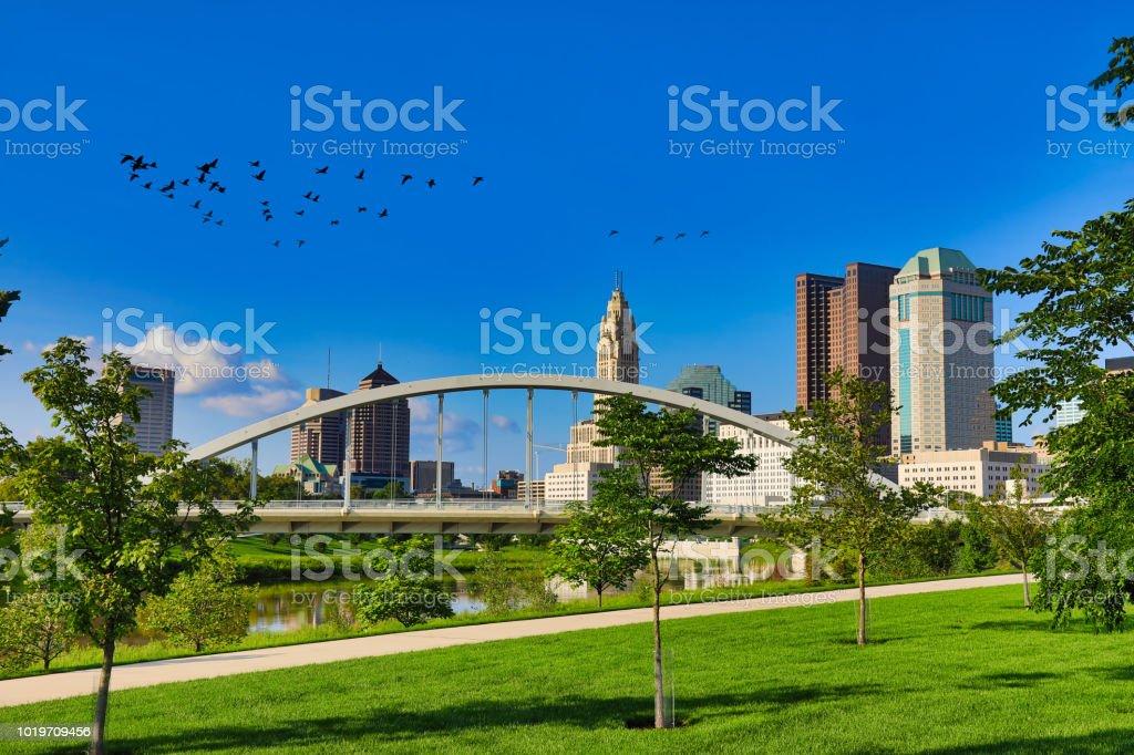 The Main street bridge in downtown Columbus, Ohio stock photo