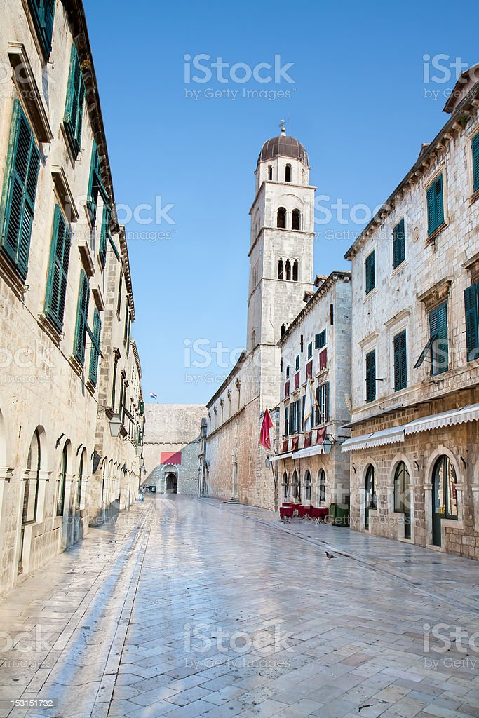 The main street in Dubrovnik, placa Sradun stock photo