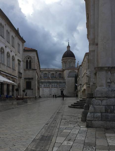 The main street in Old Town Dubrovnik stock photo