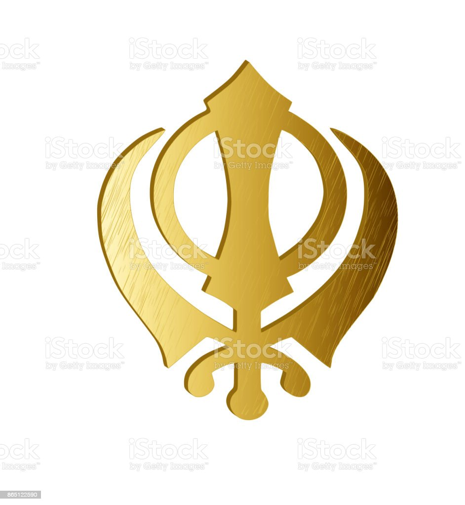 The Main Symbol Of Sikhism Sign Khanda Made Of Gold Metal White