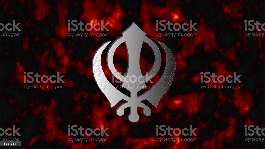 The main symbol of Sikhism – sign Khanda stock photo
