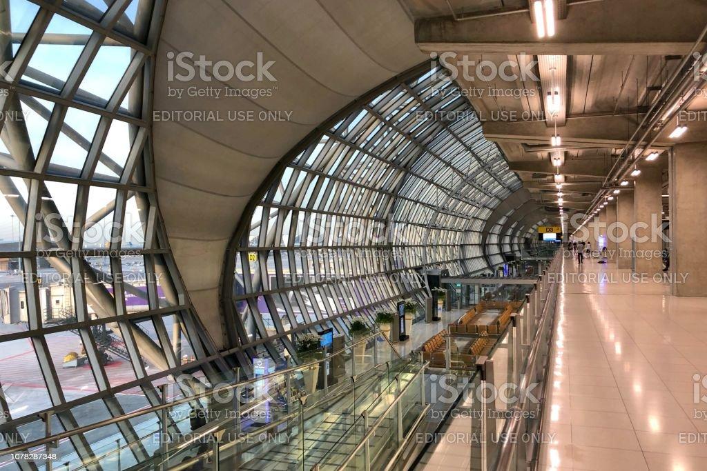 The main walkway of Suvarnabhumi Airport stock photo