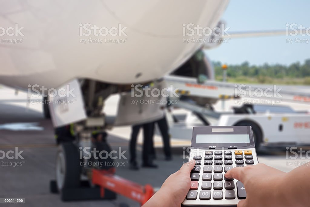 The maintenance cost of air plane as background stock photo