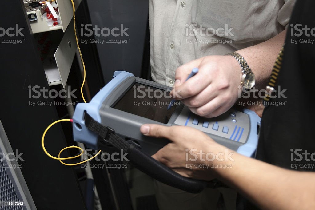 The maintenance of fiber optic stock photo