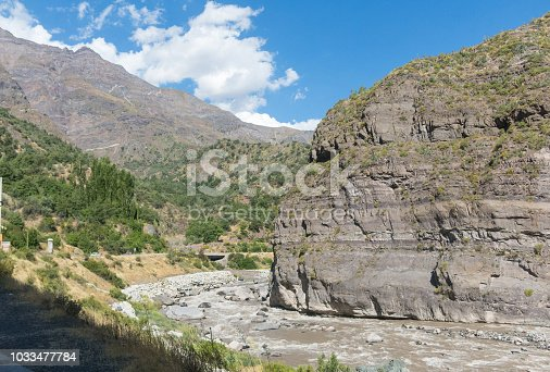 The Maipo river in Maipo Canyon, a canyon located in the Andes. Near the capital Santiago. Chile.
