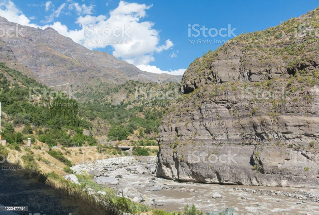 The Maipo river in Maipo Canyon, a canyon located in the Andes. Chile. stock photo