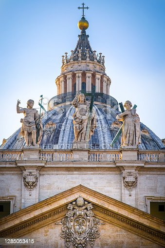 istock The majestic dome and monumental statues of St. Peter's Basilica in Rome 1285053415